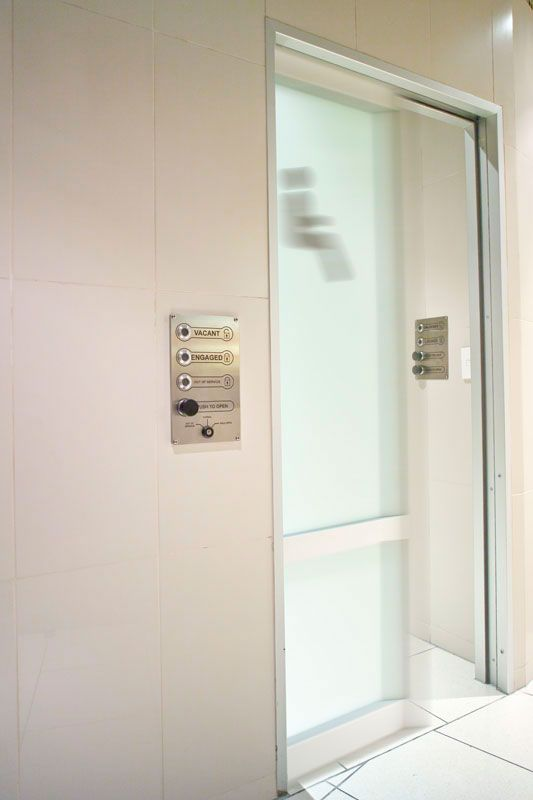 Automatic Cavity Slider Located At A Mall Restroom Automatic Sliding Doors Cavity Sliding Doors Sliding Door Systems