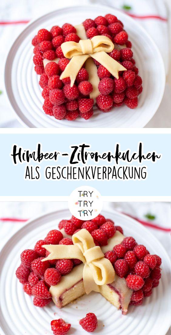 Himbeer-Zitronenkuchen als Geschenkverpackung
