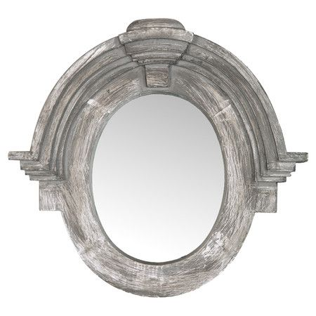 Hand-carved salvaged wood wall mirror with crown moldings and a gray finish.  Product: Wall mirrorConstruction Mater...