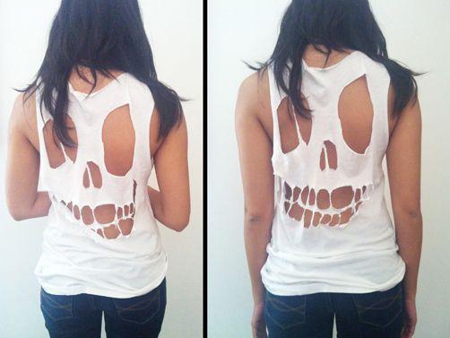 diy skull tshirt.