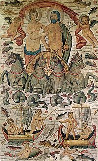 """Triumph of Poseidon and Amphitrite"", detail of a vast Roman mosaic from Cirta, now in the Louvre (ca. 315–325 AD)."