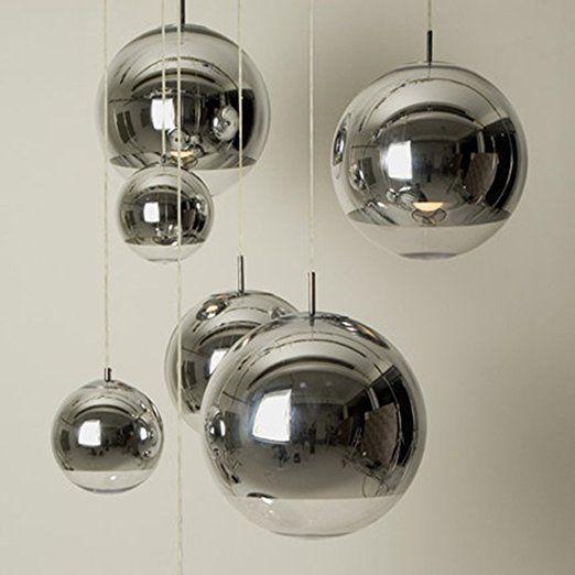 Injuicy Lighting Tom Dixon Globe Silver Electroplate Glass Pendant Lights Fixtures Modern Glass Ball Pendant Lighting Ball Pendant Lighting Glass Ball Pendant