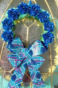 Pretty Blue Rose Wreath
