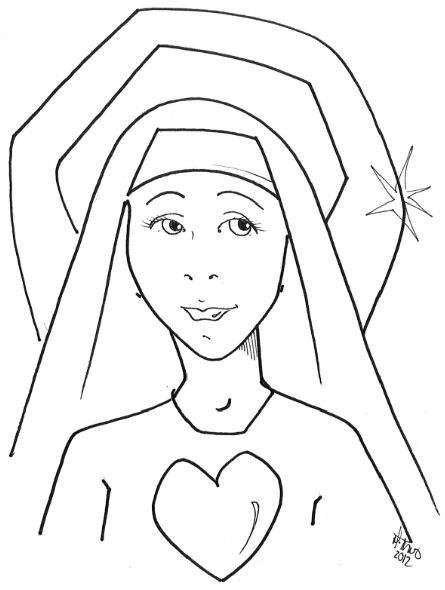 Mary 39 s Immaculate Heart coloring