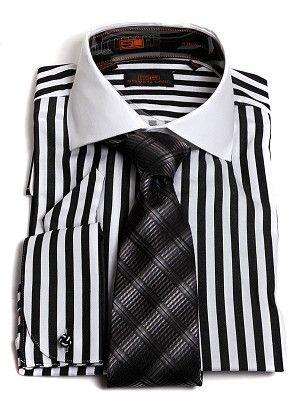 Steven Land Men's Black Stripe French Cuff Dress Shirt & Multi ...