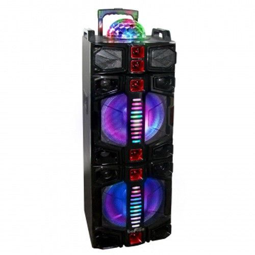 Bluetooth Rechargeable Party DJ Speaker Dual 12 inch with Lights Wireless Mic