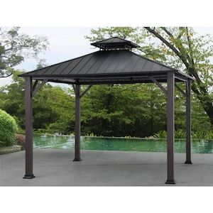 Allen Roth Black Woodgrain Metal Square Gazebo Exterior 10 925 Ft X 10 925 Ft Foundation 10 Ft X 10 Ft Lowes Com Gazebo Backyard Renovations Backyard Gazebo
