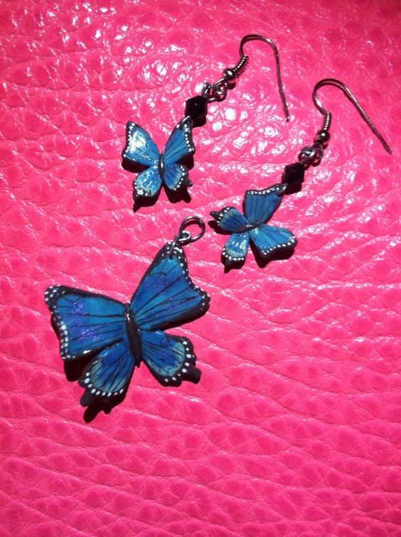 Blue butterfly earrings and necklace charm