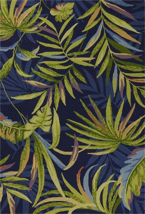 Ink Blue Playa Tropical Indoor Outdoor Rug With Images Outdoor