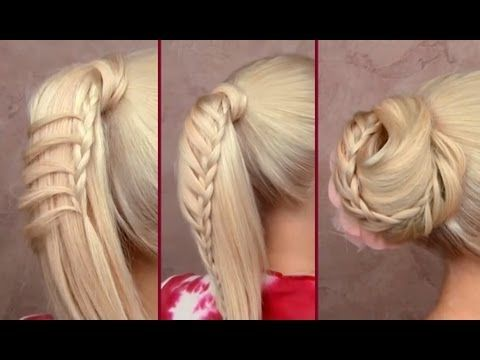 Braided ponytail and elegant bun hairstyles