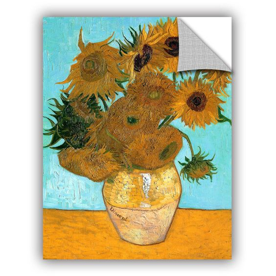 Vases with Twelve Sunflowers by Vincent Van Gogh Art Appeelz Removable Wall Mural