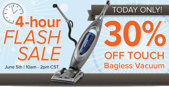 30% off flash sale on the Touch bagless vacuum cleaner from Oreck - 4 hours only!