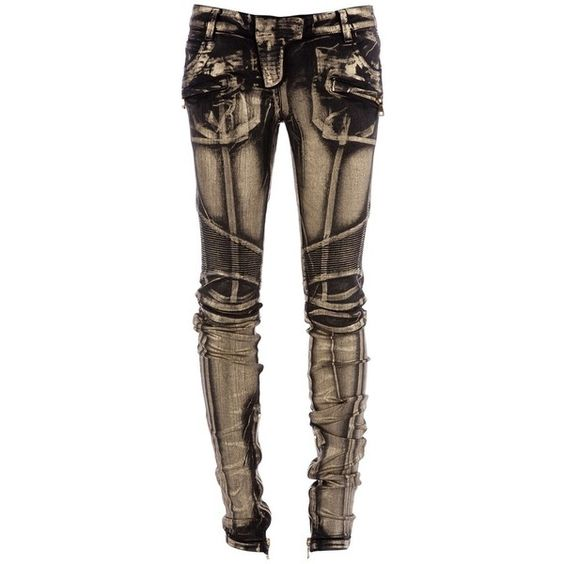 BALMAIN 5967385B BLACK&GOLD COTTON/ELASTANE 48589 ($1,070) ❤ liked on Polyvore featuring pants, jeans, bottoms, trousers, women, lycra pants, metallic gold pants, black zipper pants, gold pants and metallic pants