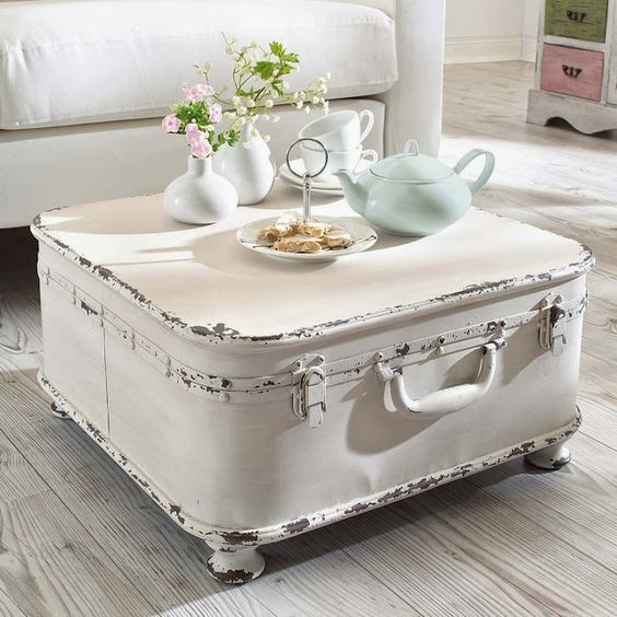 A vintage #suitcase #repurposed into a coffee table