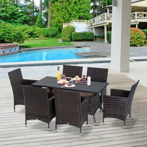 Rossana 6 Seater Dining Set With Cushions Sol 72 Outdoor