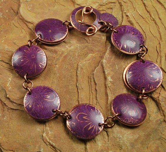 Copper Etched Metal Burgundy Flower Bracelet  by ccjewelrydesign, $60.00