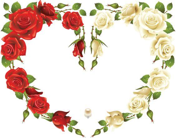 Grande Heart Frame transparente com rosas vermelhas e brancas: