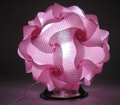 Abajur Bola Mexicana / Japonesa - Tecido Branco E Rosa 02