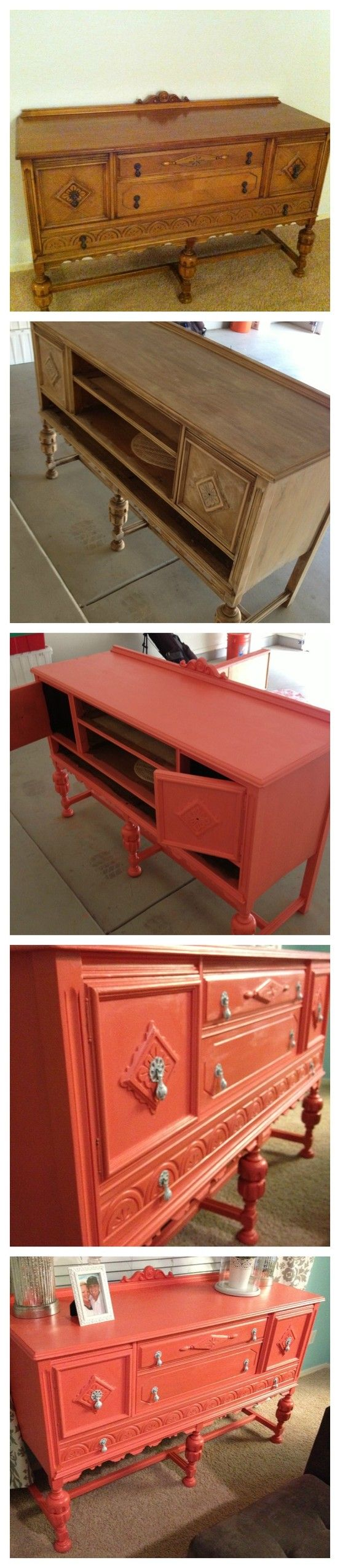 DIY painted furniture. coral. hutch. chalk paint  Popular with the Poplins