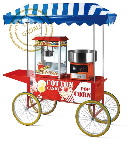 hot sale popcorn machine, cotton candy machine with cart, can take them in the street to every where, contact with me: call@whatsapp:+86-18998327968