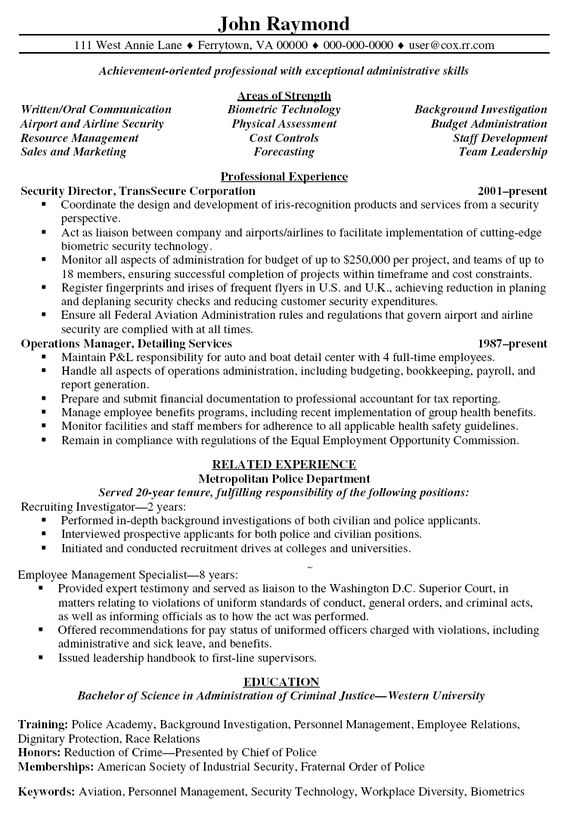 security director resume PO Resumes Pinterest - criminal justice resumes