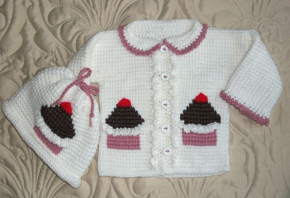 Tunisian Crochet Baby Sweater Free Pattern : Baby Girl Sweater Set Cupcakes 12 Months Tunisian Stitch ...