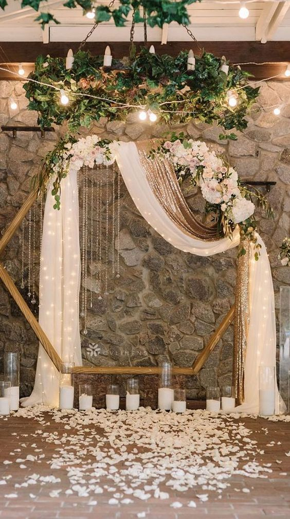 28 Brilliant Floral Wedding Backdrop Ideas That Inspire In 2020 Modern Wedding Ceremony Hexagon Wedding Wedding Scene