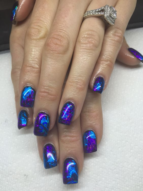 Gel Nails With Transfer Foils By Melissa Fox Expensive Nails Pinterest Purple And Blue