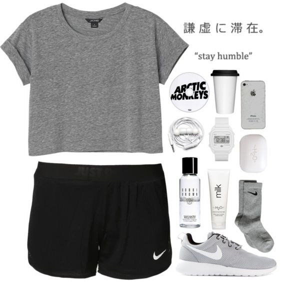 A fashion look from January 2015 featuring Monki t-shirts, NIKE activewear shorts and NIKE socks. Browse and shop related looks.