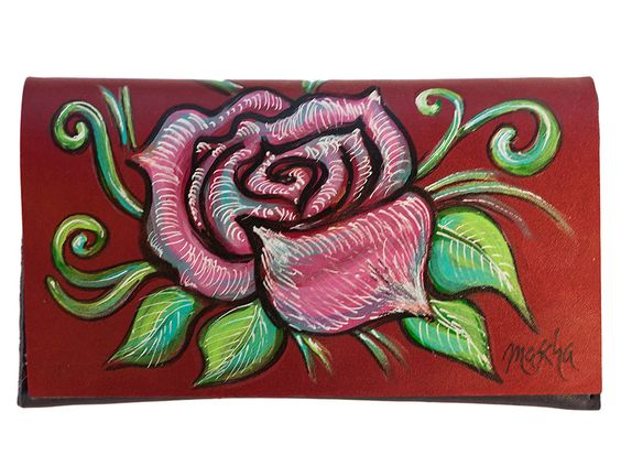 Rose, Handy-Tasche, Leder, Handgearbeitet, Malerei