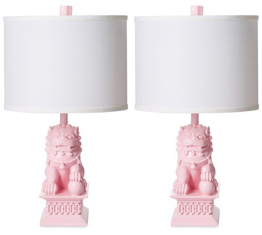 S2 Mini Foo Dog Table Lamps, Candy Pink Barbara Cosgrove