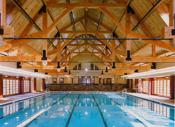 Expansive Timber Frame Trusses Over Olympic Length Pool