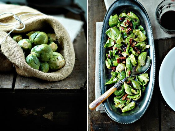 caramelized brussels sprout leaves w/ candied nuts