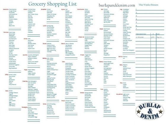 Grocery shopping list with Walmart Price matching section and menu - food shopping list template