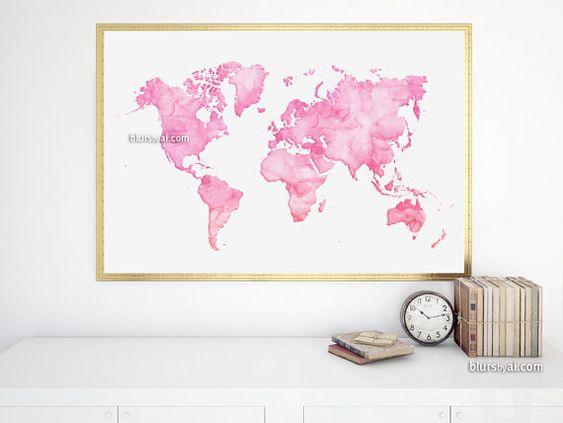 "36x24"" Watercolor world map printable. Light pink world map. Quote world map print, pink nursery, pink dorm decor, pink teen decor. map033 I"