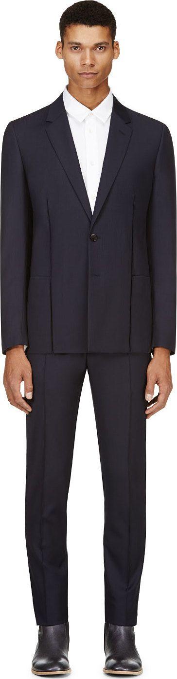 Maison Martin Margiela - Navy Subtle Herringbone Suit | SSENSE