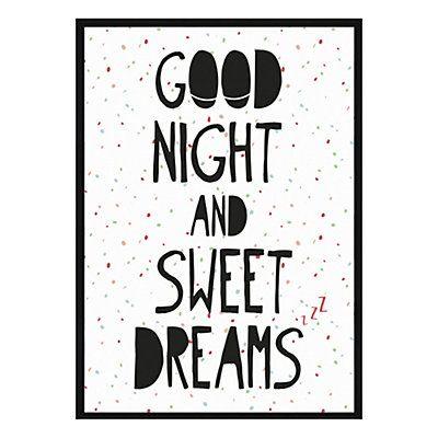 Affiche imprimée encadrée Good Night, blanc et noir, 50x70x1,5 cm