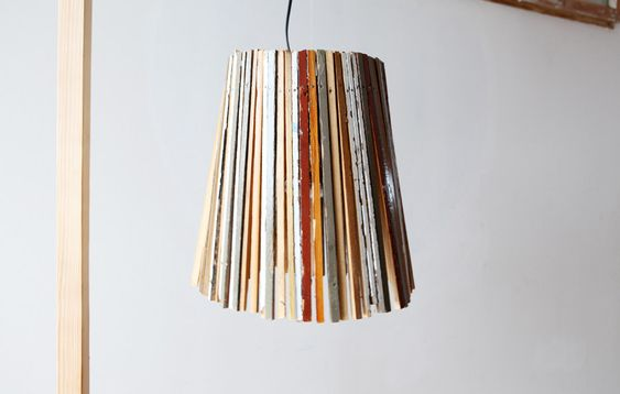 lampshade made from strips of recycled floorboards
