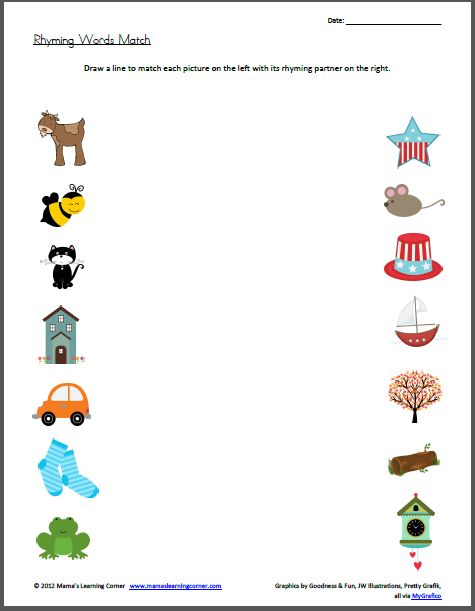 Printables Rhyming Words For Kindergarten rhyming words match worksheet kindergarten and learning