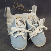 Old Baby Shoes - Blue Denim with Original Box