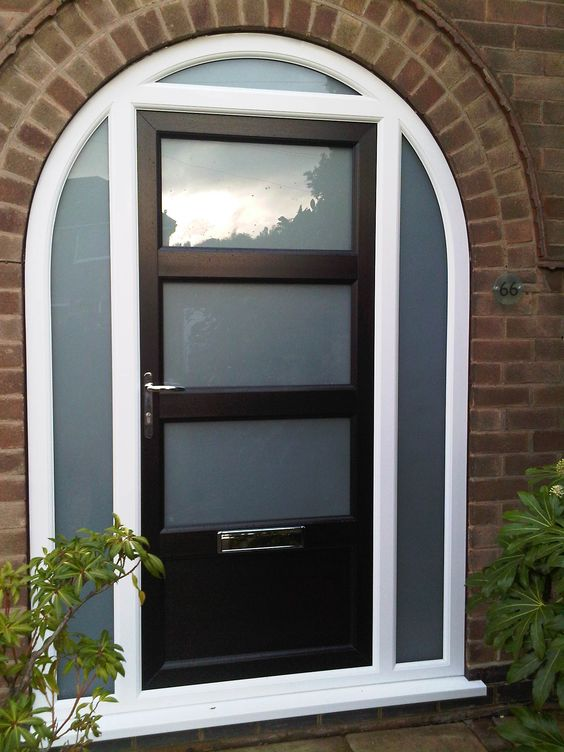Bespoke Upvc Door In Black With Arched Top Frame Side Panels Making An Entrance Pinterest