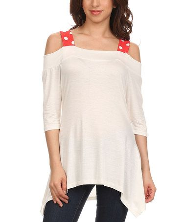 Look what I found on #zulily! White & Red Polka Dot Off-Shoulder Tunic #zulilyfinds