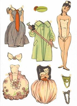 Danish dress-up doll artist Dorte (Dorte Kortzau 1914-1978) | Die Anziehpuppen der Dänin Dorte waren teilweise auch in Deutschland und in Schweden erhältlich, da sie, wie auch Iben Clante, viele Anziehpuppen für den Illustrationsforlag (IF) gemalt hat. Später wurde aus den Verlag der Carlsen