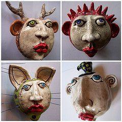 love..: Ceramic Dolls Faces, Inspiration Clay, Ceramic Masks, Ceramics Inspirations, Ceramic Art, Ceramic Inspirations, Flowers Santora, Ceramic Figures