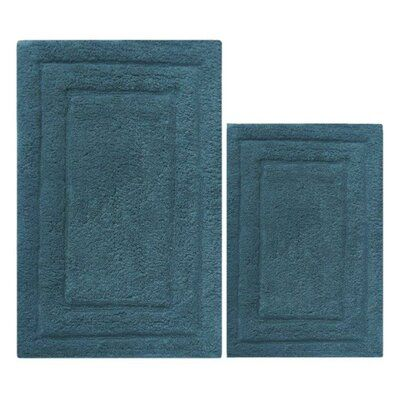 Benzara 2 Piece Bath Rug Set Cotton Bath Rug Contemporary Bath