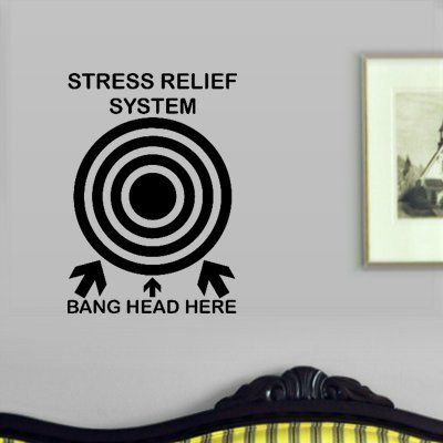 StikEez Black Stress Relief System Band Head Here Funny Wall Decal by StikEez, http