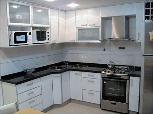 Muebles para cocina en melamina blanca con cantos en for Muebles de melamina