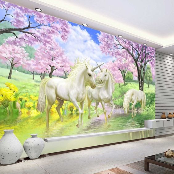 3d custom photo wallpaper unicorn sakura wallpaper fantasy for Childrens mural wallpaper