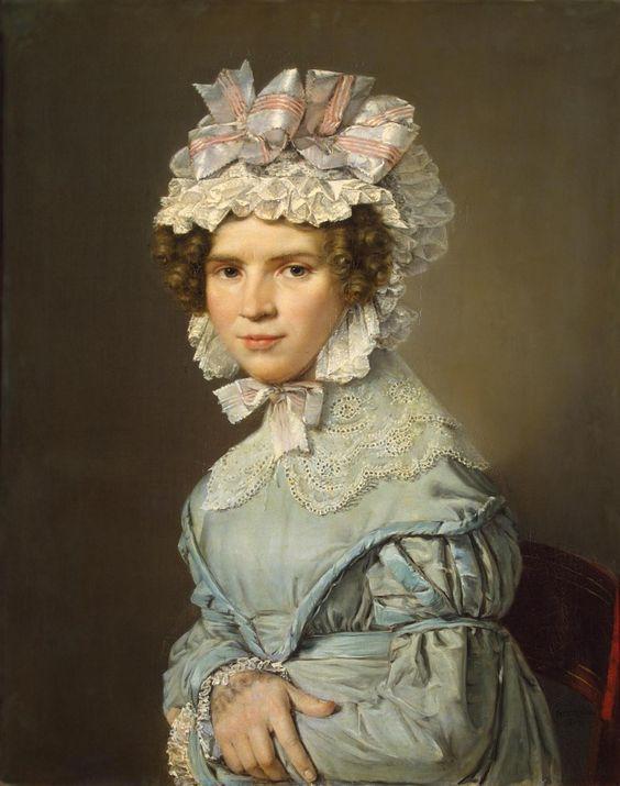 1824 Christian Albrecht Jensen - Portrait of a Lady in Blue Dress