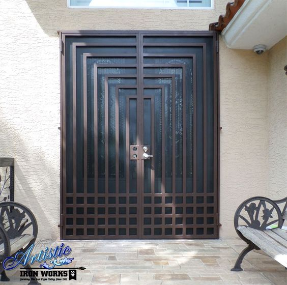 Escher wrought iron security screen double door model for Security doors for french doors